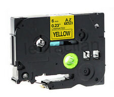 Brother Compatible TZ611 P-Touch 6mm Gloss Black on Yellow Tape TZ-611