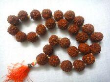 9 mm Knotted Rudraksha Hindu 27+1 Bead Seed Mala Necklace Bracelet Rosary Prayer