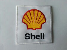 MOTORSPORTS RACING TYRE SEW ON / IRON ON PATCH:- SHELL (j) WHITE BLOCK SUN CLAM