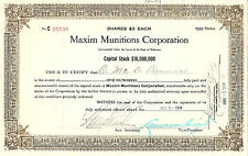 DELAWARE, 1918 Maxim Munitions Corporation Stock Certificate