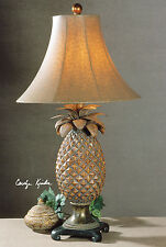 """ANANA TROPICAL 30"""" RUBBED BROWN GLAZED PINEAPPLE TABLE LAMP OSTRICH STYLE SHADE"""