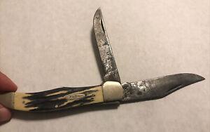 Early Kabar USA 1184 Folding Hunters knife Stag handle 2 Blade Very Nice Snap