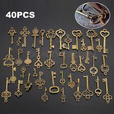 40 Pcs Bronze Keys Vintage Antique Old Look Skeleton Heart Bow Pendant Gift