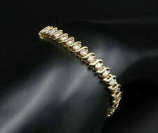 7.00 Carat Round VVS1 Diamond S-Link Tennis Bracelet 14k Yellow Gold Over 7.25""