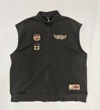 HARLEY DAVIDSON Full Zip Vest Gray Embroidered Biker Mens Large MN Cotton