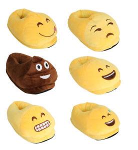 Unisex Ladies Girls Boys Emoji Emotion 3D Stuffed Plush Slippers UK 3-8