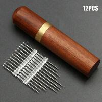 12PCS Stainless Steel Self-threading Needles Opening Sewing Darning Needles Set