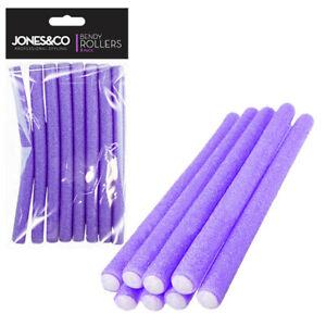 Bendy Hair Rollers 8 Flexible Soft Foam Heatless Styling Sleep In Curlers