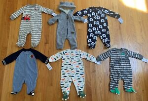 NWT! Carter's Baby Boys Fleece Zip Up & Snap, Sleep and Play Lot 3 6 Months NEW!