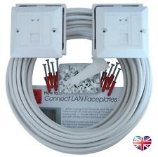 100m WHITE INTERNAL cat 6 Network Cable DUAL EXTENSION KIT Face Plate Wall Box