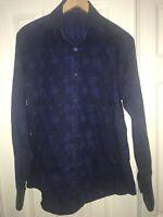 Bugatchi Uomo Mens Dress Shirt Shaped Fit Blue Black Striped Med Button Down C38