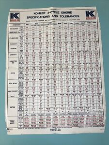 """Kohler 4 Cycle Engine Specs and Tolerances WALL CHART 22""""x 17""""."""