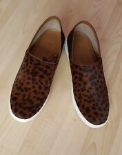 ZARA NEW LEOPARD PRINTED LEATHER SNEAKERS SHOES /FLAT  SIZE UK 4 EU 37