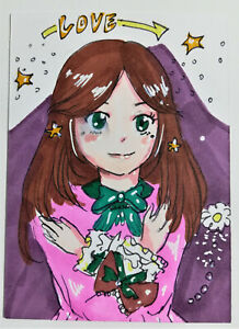 ACEO Original Art Drawing Card Anime Womens Girls Fantasy