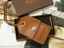 """Tod's Brown Leather Luggage Tag Portanome 2.25"""" x 3.5"""" New in Box Made in Italy"""