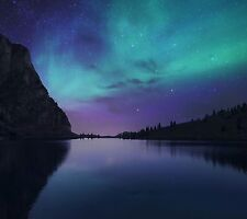 NIGHT SKY CALM LAKE BLUE NORTHERN LIGHTS WALL ART CANVAS PICTURE PRINT 20X30INCH