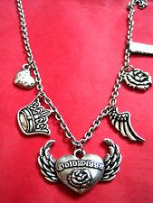 Silver Tone Oxidised Mixed Metal Golddigga Short Charm Necklace