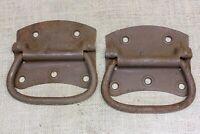 "2 old Tool Box drop Handles Pull with spring barn 5 1/4"" vintage rustic steel"