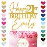 Personalised Happy Birthday Cake Topper Custom glitter 21st 18th 30th 40th 50th