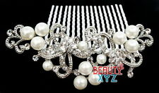 beautiful elegant wedding bridal hair comb Ivory Color pearl and crystal #1126