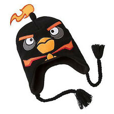 ANGRY BIRDS Black Winter Beanie Trapper Aviator Hat NWT Youth or Adults/Mens
