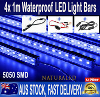 4X 1metre 12V Waterproof BLUE 5050 Led Strip Light Bars For Camping Boat Caravan