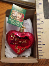 Heart Ornament GlassI Love You Heart Old World Christmas 30021 10