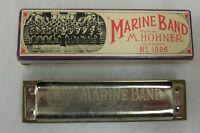 Vintage Hohner US Marine Band Germany Harmonica Key G with Box