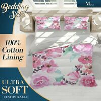 Rose Floral Flowers Pink Duvet Cover Sets Single Double Queen King Size