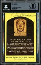 Joe DiMaggio Autographed Signed HOF Plaque Postcard Yankees Beckett 12059207