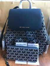 Authentic Michael Kors Abbey Large Cargo Leather Backpack Navy Multi
