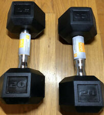 🔥 Cap (2) 20 LB Rubber Coated Hex Dumbbells (40 LBS Total) Shipping From CA