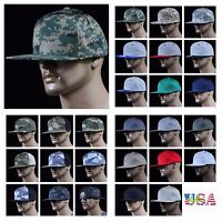 Men's Baseball Cotton Cap Snapback Plain Hip Hop Military Army Camo Hunting Hats
