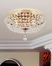 Plafoniera 8 luci rotonda in cristallo e metallo oro coll. Dese 6510/PL50