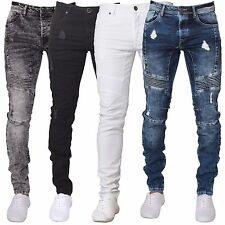 ENZO Mens Jeans Super Ripped Biker Skinny Stretch Denim Pants All Waist Sizes