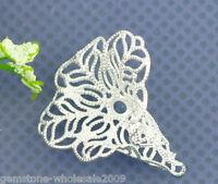 Wholesale Lots Silver Plated Hollow Flower Filligree Earring Pendants 28x24mm 50