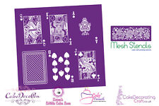 Printing Mesh Stencil | Playing Cards Q K A J 10 Back | Cake Decorating Craft