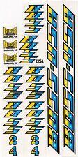 BOSS Racing Products BMX - BOSS 24 Yellow / Light Blue / Black Bike DECAL SET