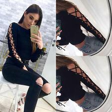 UK Fashion Womens Long Sleeve Crop Tops Cotton Shirt T-shirt Casual Loose Blouse