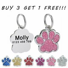 Bling Paw Dog Tags Personalized Custom Engraved ID Name Pet Dog Puppy Cat Kitten