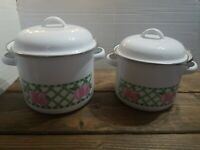 Vintage Enamel Mini Stock Soup Pot Double Handled Green Lattice & Apple Design 2