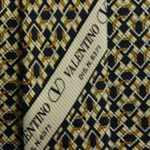 Blue Gold Foulard VALENTINO Silk Tie