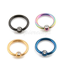 "4pc 16G 5/16"" Titanium Anodized Steel Captive Bead Ring With Clear Gemed Ball"