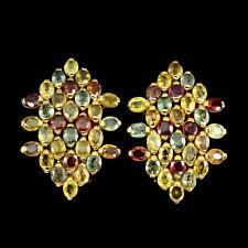 TOP MULTI COLOR SAPHIRE EARRINGS : Natürliche Mehrfarbig Saphir Ohrringe  E111
