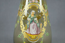 Salviati Murano Hand Painted Colonial Lady & Gentleman Amber Glass Decanter