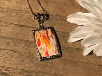 Recycled Broken Porcelain Jewelry, Orange & White Marble Pendant