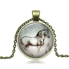Vintage painting Horse Sketch Cabochon Bronze Glass Chain Pendant Necklace #Y301