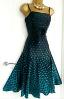 TED BAKER size 3 12 spotty polka dot fit & flare 100% silk occasion dress 61