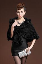 100% Real Genuine Knit Mink Fur Stole Cape Shawl Scarf Coat Wrap Black Classic