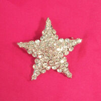 "Silver Rhinestone Star Pin Large Brooch 2 1/4"" Wide Bling CZ Five Point Crystals"
